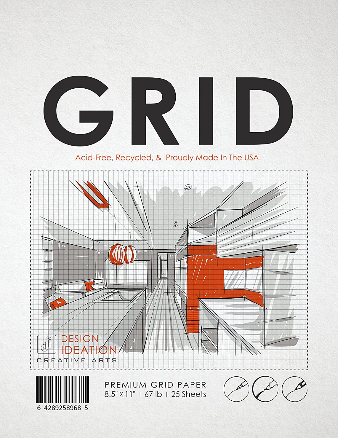Premium Grid Paper for Pencil, Ink, and Marker. Great for Art, Design and Education. Loose Sheet Pack. (25 Sheets (8.5