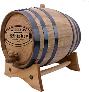 Personalized - Custom American White Oak Aging Barrel - (5 Liters, Black Hoops)