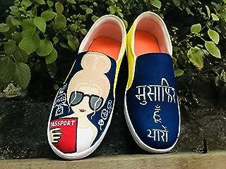 FUNKY N TRENDY Musafir Hu Yaroo Travel Theme Hand Painted Water Resistant Canvas Casual Shoes
