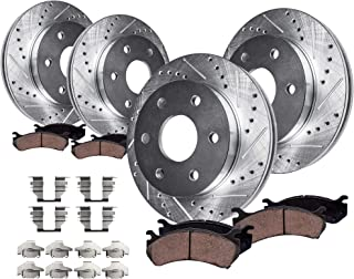 Detroit Axle - 301.8mm FRONT & 324mm REAR DRILLED AND SLOTTED Brake Rotors & Ceramic Brake Pads w/Hardware fits 4.2L 2006-2007 Buick Rainier & 2006-2008 2009 Chevy Trailblazer & GMC Envoy V-6 Only