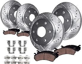 Detroit Axle - 4WD 6-LUG FRONT & REAR DRILLED & SLOTTED Brake Kit Rotors & Ceramic Brake Kit Pads w/Hardware fits 2005-2008 Ford F-150 & 2006-2008 Lincoln Mark LT 4x4 6-Lug