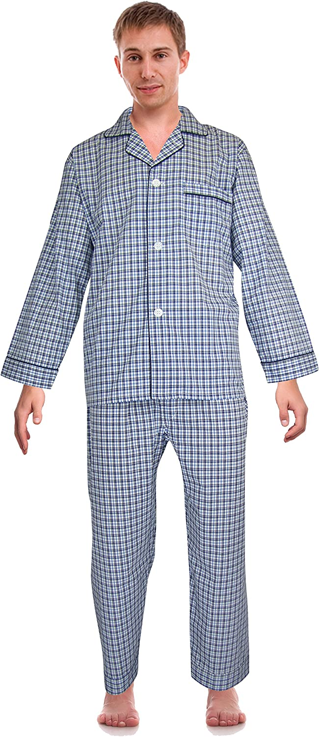 RK Shipping included Classical Cheap Sleepwear Men's Woven Pajama Broadcloth Set