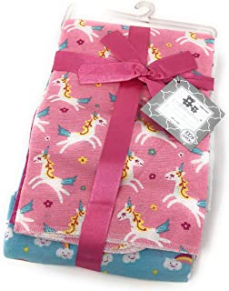 CRIBMATES Unicorn 4-Pack Flannel Receiving Baby Blanket (100% Cotton)