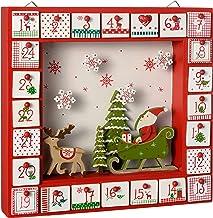 WeRChristmas Wooden Window Advent Calendar Christmas Decoration, 28 cm - Multi-Colour