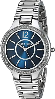 Anne Klein AK/1855NVSV Reloj de pulsera plateado con cristales Swarovski acentuados para mujer