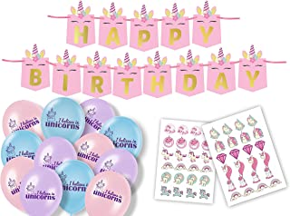 Glitter Owl Unicorn Birthday Party Supplies - Happy Birthday Banner, Balloons and Temporary Unicorn Tattoos for Party Favors - 61 Piece Themed Kit