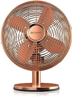 Brandson - Ventilador de Sobremesa Retro Copperline - Ventilador con 3 Niveles de Velocidad - Oscilación Ajustable a 80 Grado - Ángulo de inclinación de Aprox. 40 Grado - Carcasa Robusta de Metal