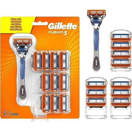 Gillette Fusion 5 Rasoio Uomo + 11 Lamette di Ricambio per una Rasatura Confortevole
