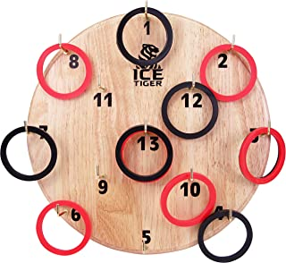 Ring Toss Game Board by Ice Tiger - Gift Idea for Kids & Adults - Fun Outdoor & Indoor Sports - Hang on Wall & Play at Family, Home Yard, Office, or Birthday Party - Hook Games & Rings