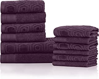 Superior's 100% Cotton 500 GSM, Plush, Absorbent, High Quality and Durable Honeycomb Jacquard and Solid 12-piece Towel Set- Blackberry Wine