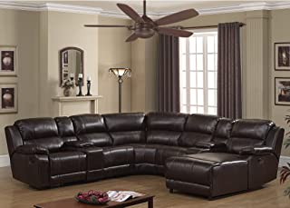 AC Pacific Colton Collection Transitional 6-Piece Upholstered Leather Reclining Living Room Sectional Set with Dual Recliners, 2 Storage Consoles, and 4 Cup Holders, Dark Brown
