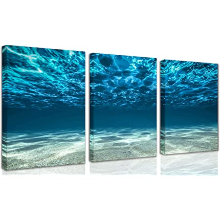 3 panel canvas print set for men/'s bedroom or living room beach decor Coastal wall art ocean painting Blue gray black purple