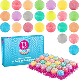 Spa Bath Bombs Gift Set – Pack of 24 Colorful Individually Wrapped 80g Bath Bomb Fizzies in a Variety of Fruity, Floral & Tropical Fragrances – Perfect Gift idea For Women & Kids