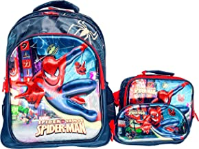 "16/"" Boys Superhero Spiderman Back to School Backpack Kids Book Bags Lunch Box"