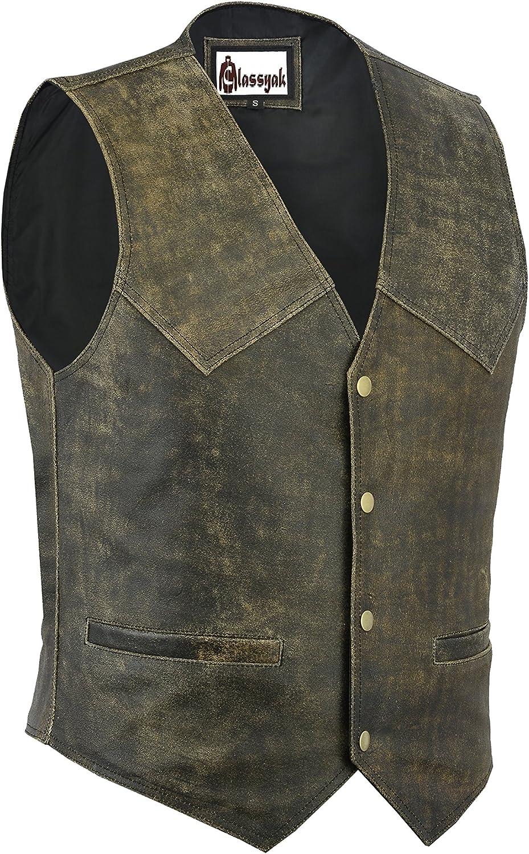 Classyak Men's Fashion Real Leather Biker Vest
