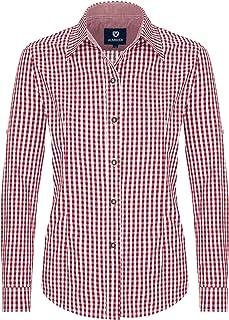 Almbock Trachtenbluse Damen Langarm - Karierte Bluse in vielen Farben aus 100% Baumwolle - Festliche Blusen in Größe 34-46