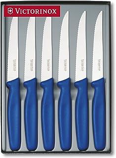 Victorinox 5.1122.6 - Juego de 6 Cuchillos para Carne Acabados en Punta, Color Azul
