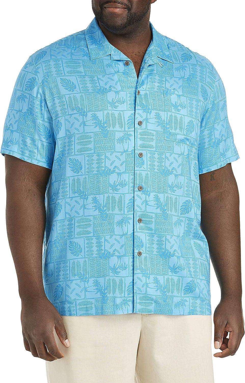 Island Passport by DXL Big and Tall Tonal Batik Sport Shirt, Aquarius