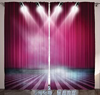 Ambesonne Theatre Curtains, Stage Aubergine Drapes Curtains Actor and Actress Watching a Play Illustration, Living Room Bedroom Window Drapes 2 Panel Set, 108