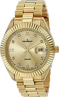 Peugeot Men's 'Diamond' Quartz Metal and Stainless Steel Dress Watch, Color:Gold-Toned (Model: 153BK)
