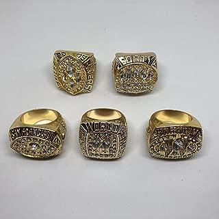 Set of 5 San Francisco 49ers Super Bowl XVI, XIX, XXIII, XXIV, XXIX Replica Ring-Various Sizes Gold Color Collectible 1981, 1984, 1988, 1989, 1994 USA SHIPPER Montana, Rice, Young