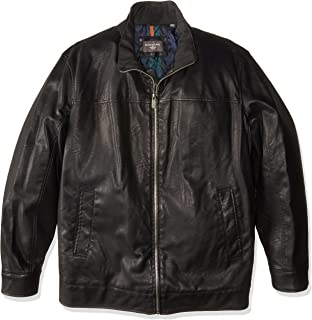 Dockers Men's Size Tall Lamb Touch Faux Leather Stand Collar Jacket