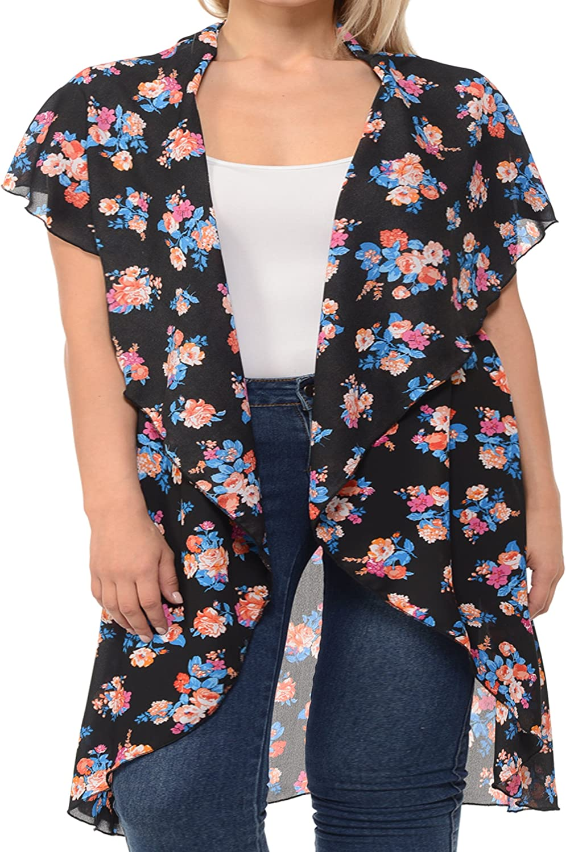 Basico Women's Plus Size Open Asymmetrical Hem Chiffon Vest Cardigan Cover up (2 XL/ 3 XL, Vest Cape- Black/Blue)