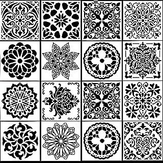 HQdeal 16 pieces Réutilisables Motif Mandala Découpe Laser Pochoir Mandala de Peinture Pochoirs pour Cartes Scrapbooking D...