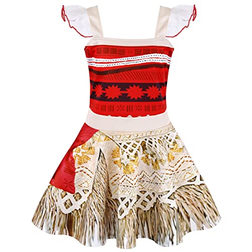 AmzBarley Princess Moana Dress Little Girls Lace Sleeveless Costume Cosplay Outfit