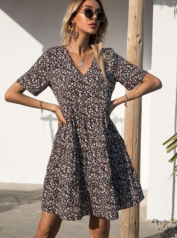 BTFBM Women Summer Tunic Dress V Neck Short Sleeve Casual Loose Cute Leopard Floral Print Babydoll Shift Short Dresses