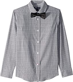 Stretch Houndstooth Plaid Shirt w/ Bowtie (Big Kids)