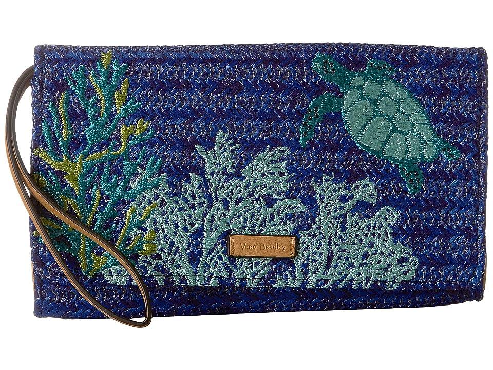 Vera Bradley Straw Beach Wristlet (Classic Navy) Wristlet Handbags