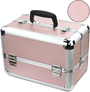 Reme Makeup Train Case Cosmetic Organizer with 4 Trays for Makeup Artist,14 Inch Large,Aluminum Frame