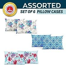 Divine Casa 100% Cotton Pillow Cover Set of 6, Multicolor