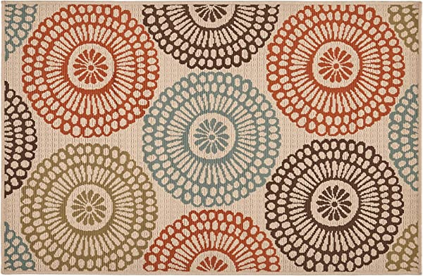 Great Deal Furniture Dahlia Outdoor 3 3 X 5 Medallion Area Rug Ivory And Multi