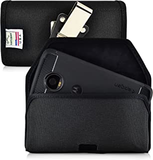 Turtleback Belt Clip Case Made for Motorola Moto Z2 Play 2017 2nd Gen Black Holster Nylon Pouch with Heavy Duty Rotating Belt Clip Horizontal Made in USA