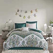 Intelligent Design Tulay Comforter Bag Reversible Solid Chevron Damask Floral Flower Boho Print Embroidered Sham with Animal Sheets Soft Microfiber Complete Bedding Set, Twin XL, Teal