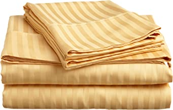 Superior 400 Thread Count 100% Premium Combed Cotton, 3-Piece Bed Sheet and Pillowcase Cover Set, Stripe, Twin - Gold
