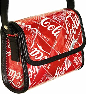 Small crossbody made from Coke can - FREE SHIPPING - upcycled vegan recycled handmade unique red redish bag reduce reuse recycle upcycle salvaged reclaimed veganist veganish art fun coca cola bag