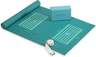 gaiam - Kit de iniciación de Yoga para Principiantes (Esterilla de Yoga, Bloque de Yoga, Correa de Yoga)