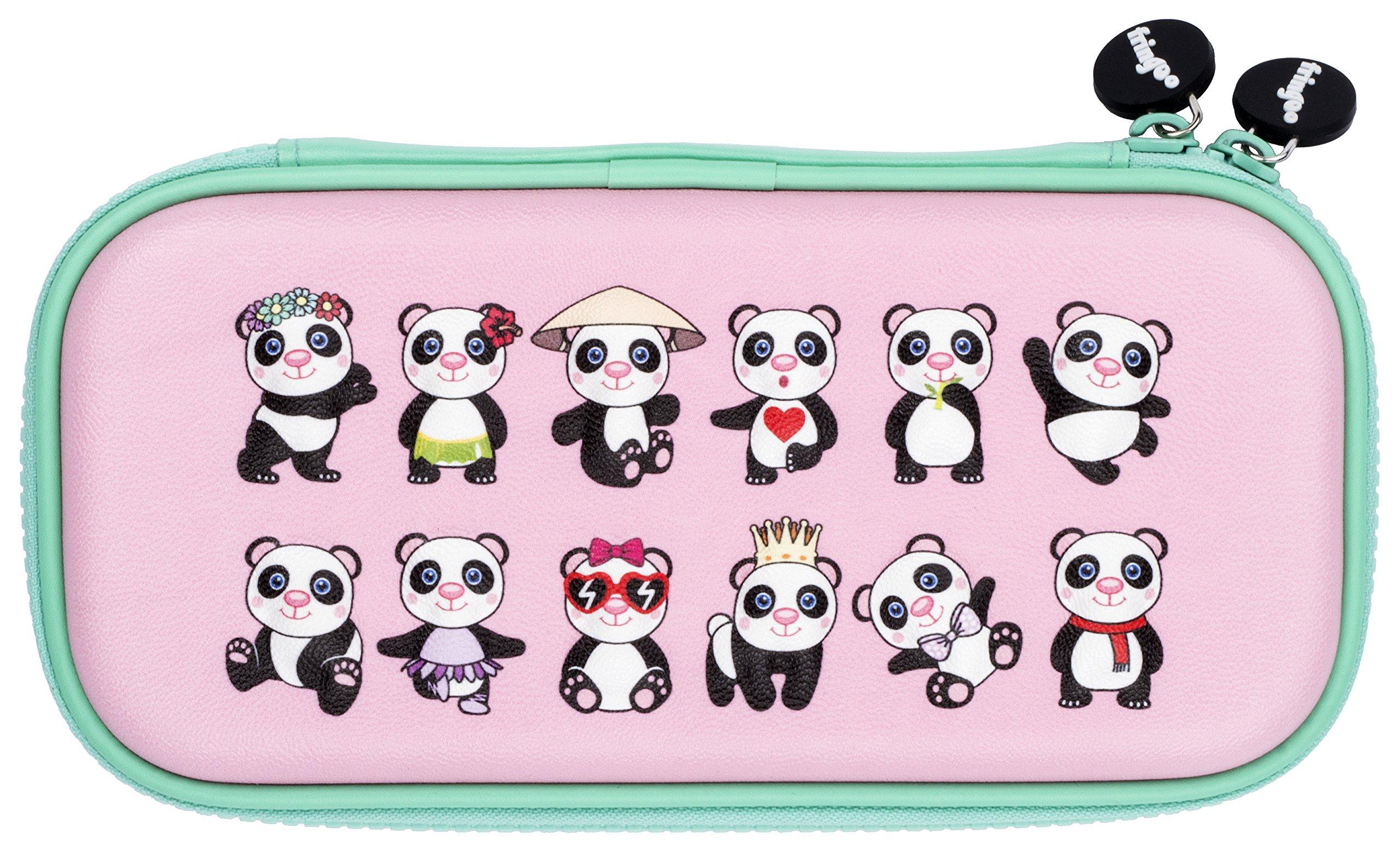 FRINGOO® Estuche para lápices con tapa dura en relieve, doble cremallera, organizador de papelería, divertido diseño de unicornio único (estilo panda): Amazon.es: Hogar