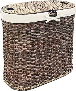Seville Classics Handwoven Oval Double Laundry Hamper, Original 18-Inch, Mocha