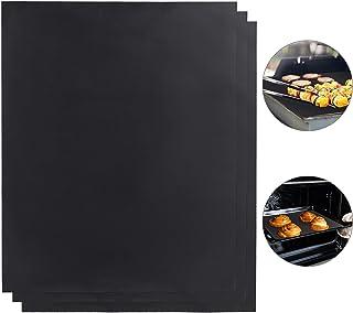 Relaxdays Tapis BBQ Jeu de 3, antiadhésif, Peut être coupé, Plastique réutilisable, 0,3 mm, 50x40 cm, Noir, 3er Pack