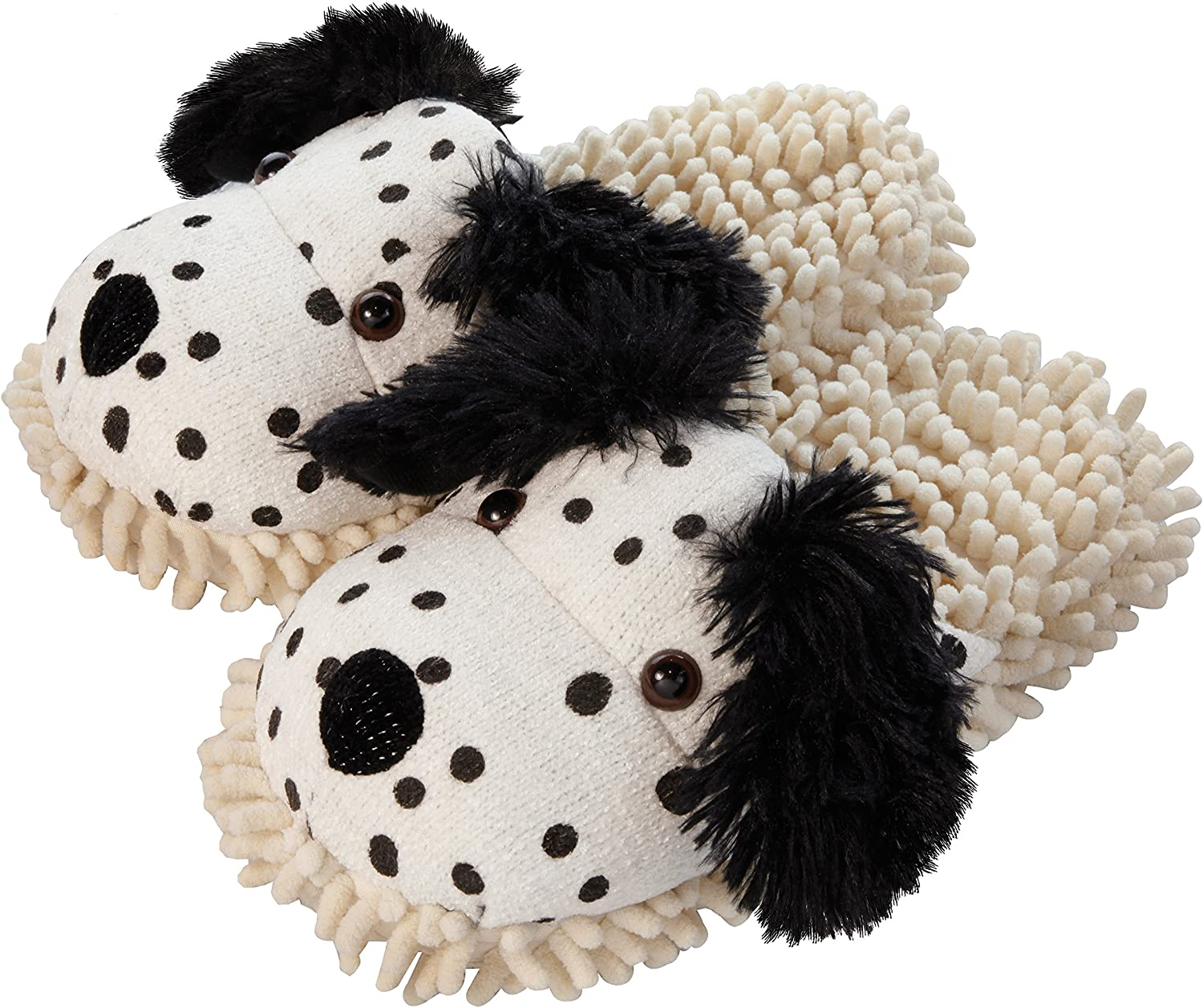 Aroma Home Dalmation Fuzzy Friends Slippers White