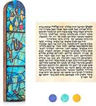 SURI Olive Wood Painted Mezuzah Case, Turquoise Self Stick Mezuzah with Scroll for Door, Jewish Mezuza Cover for Indoor an...