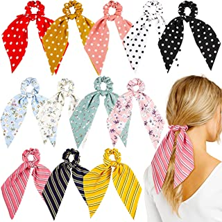 WATINC 12 Pcs Bowknot Hair Scrunchies Chiffon Floral Scrunchie Scarf Hair Ties 2 in 1 Vintage Ponytail Holder with Bows Fl...