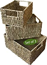 Set 3 Seagrass Wicker Storage Baskets for Home Organization and Decor | Closet Woven Shelf Baskets for Shelves with Insert...