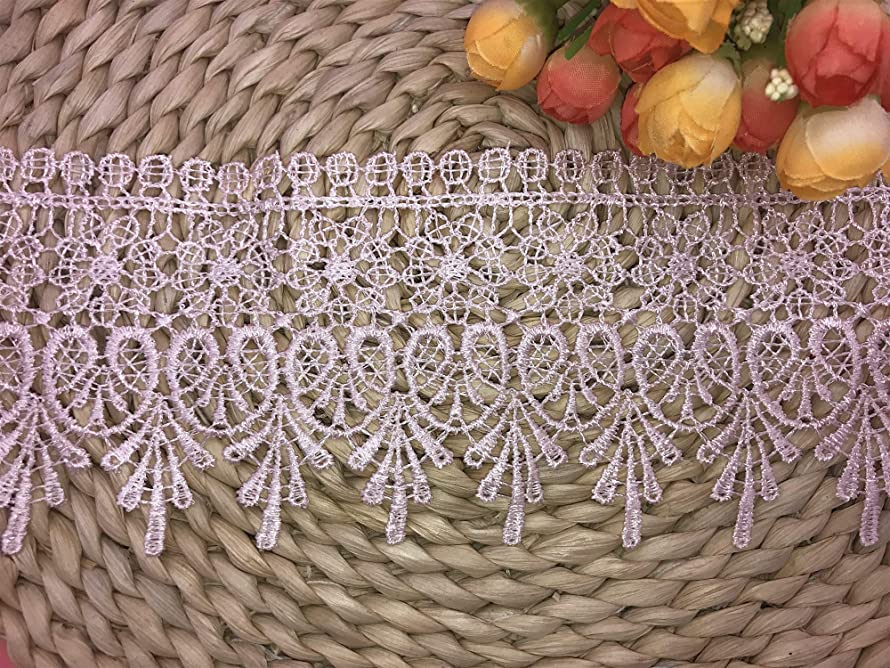9CM Width Europe Chips Pattern Inelastic Embroidery Lace Trim,Curtain Tablecloth Slipcover Bridal DIY Clothing/Accessories.(2 Yards in one Package) (Pink)