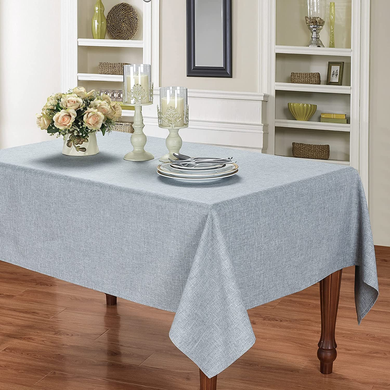 HOMCHIC Faux Linen Rectangle Clearance Max 88% OFF SALE Limited time Spillproof Washable Tablecloth -