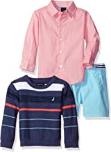 Nautica Boys' Long Sleeve Button Down Shirt, Pullover, and Short with Faux Belt Set